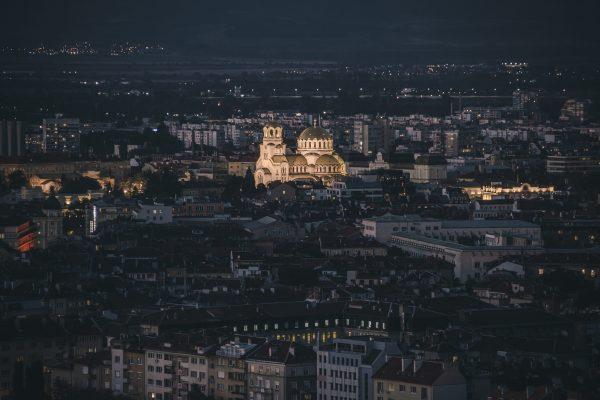 идеалният център на София от въздуха с акцент върху катедралата Александър Невски