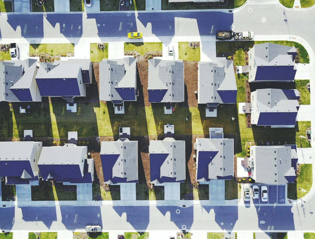 квартал с къщи, сниман отгоре