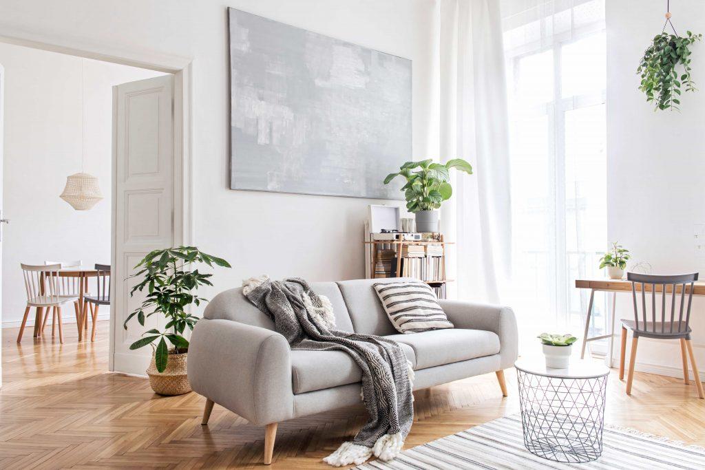 сив диван с обли форми